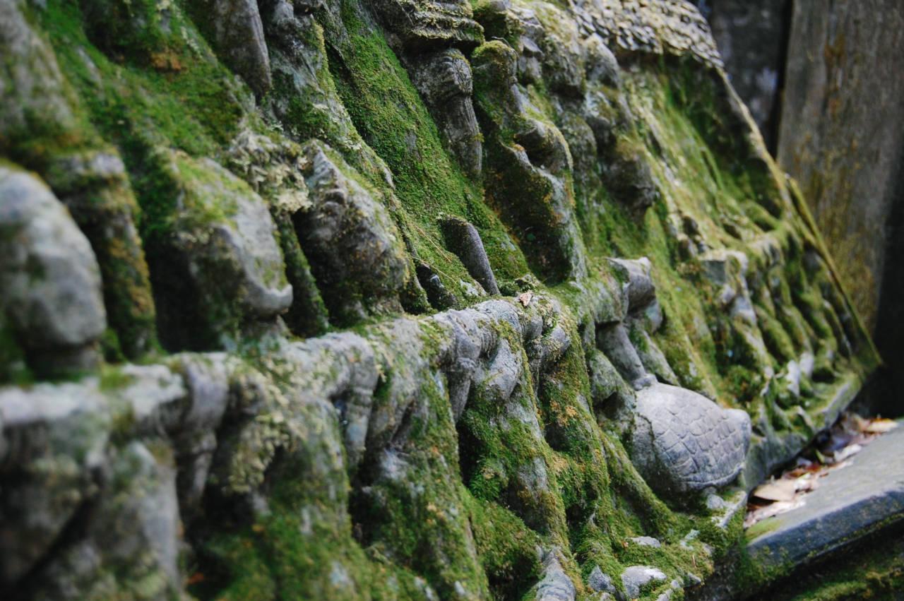 ベンメリア 苔に覆われた彫刻