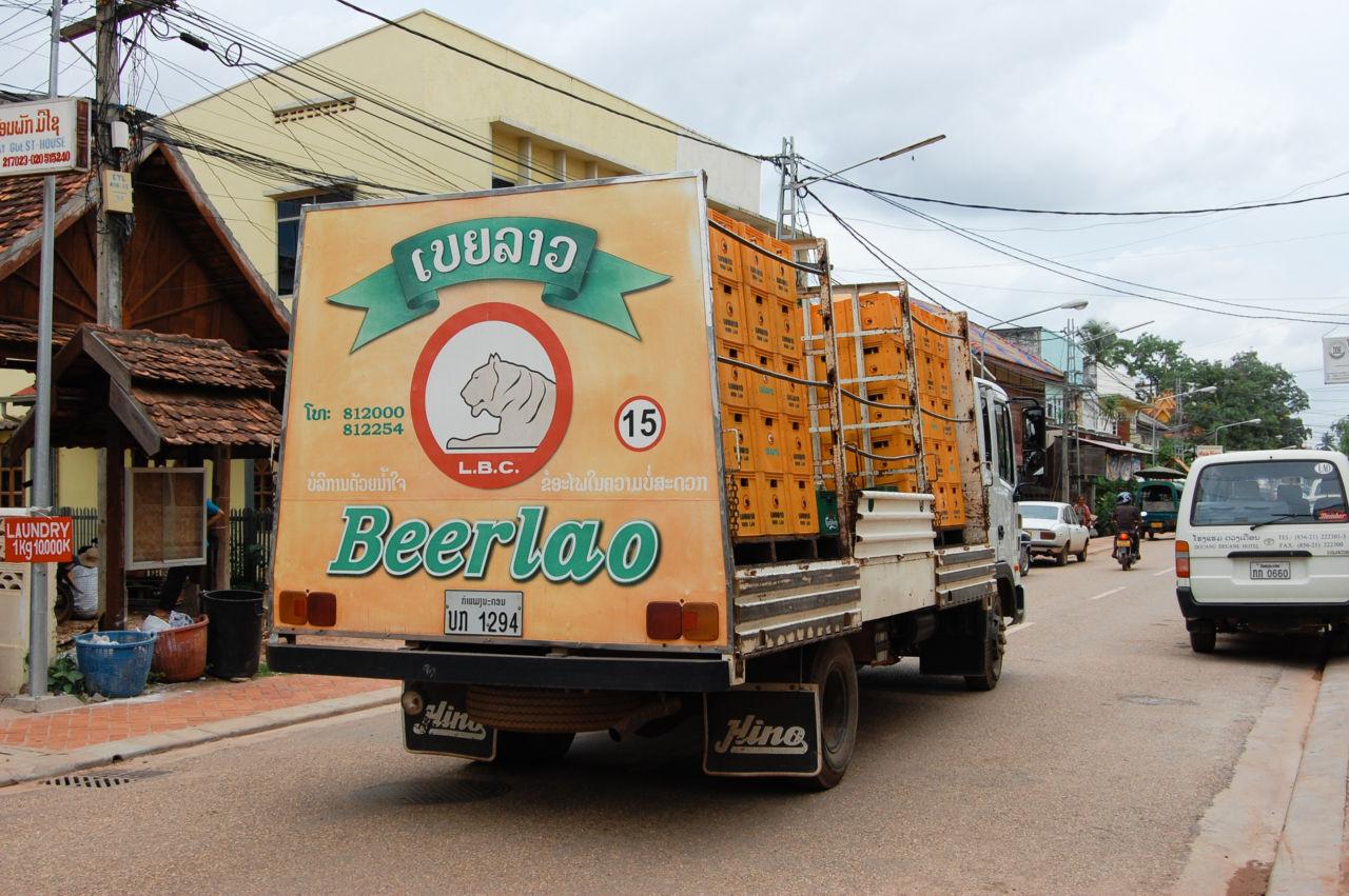 Beerlao ラオスのビール、ビアラオのトラック