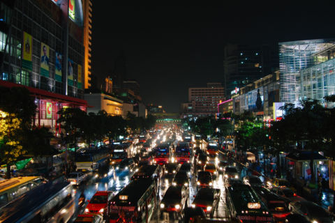 bangkok night traffic jam