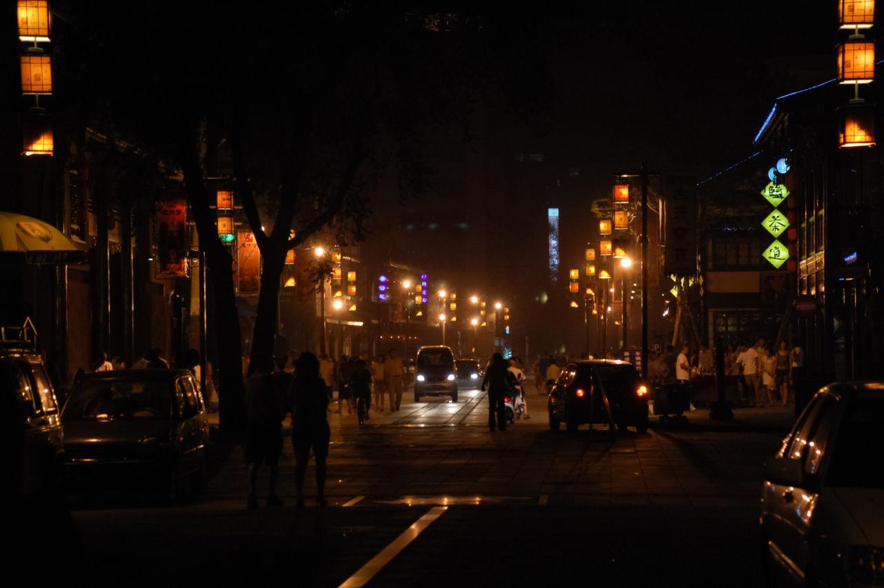 成都 文殊坊 夜の文殊院街